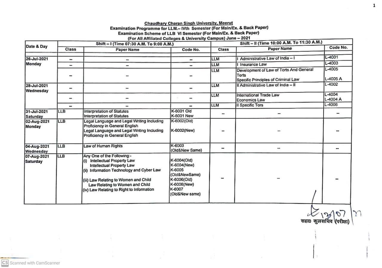 Date Sheet for LL.B last semester examination